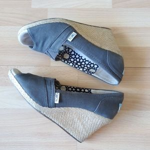 TOMS Grey Canvas Espadrille Wedge Heeled Shoes